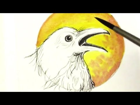 Pen And Ink No Pencil Drawing Tutorial Raven And Full Moon