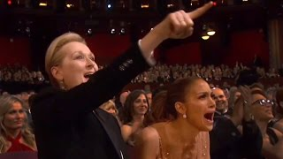 Repeat youtube video Oscars 2015: Jennifer Lopez & Meryl Streep Go Nuts For Patricia Arquette | Hollyscoop News
