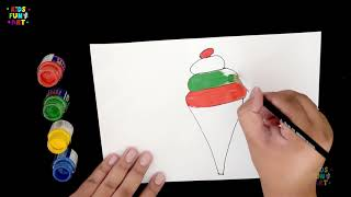 Learn Colors with IceCream for Kids | How to Draw Softy IceCream | Little Star Fun Art