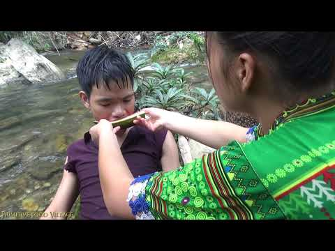 Survival skills: Primitive life in forest find food to survive - Watermelon for eating delicious