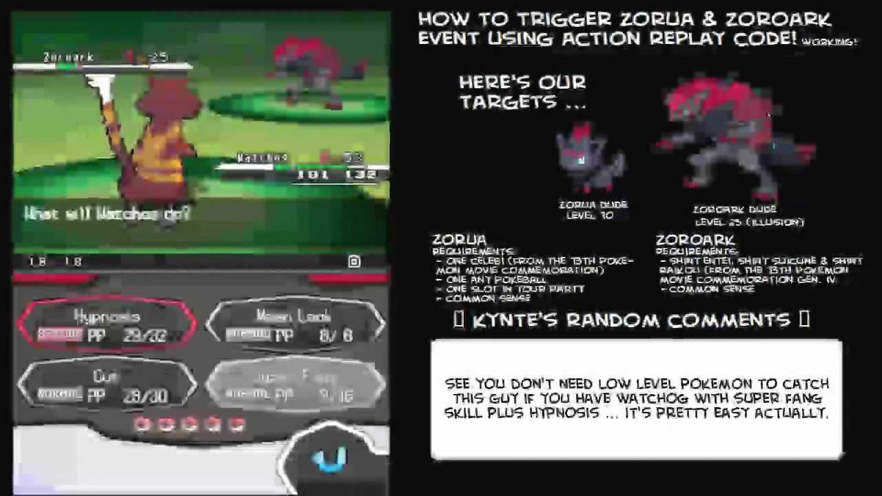 How to trigger Zorua and Zoroark Event (Action Replay <b>Code</b> ...