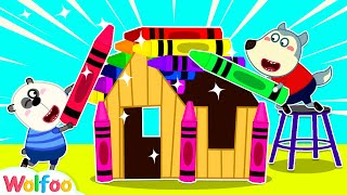 Wolfoo Builds DIY Playhouse from Colorful Lego, Crayon and Cookies | Wolfoo Family Kids Cartoon