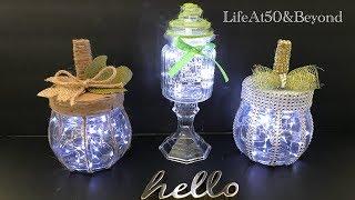CUTE DOLLAR TREE DIY LIGHTED GLASS PUMPKINS | EASY FARMHOUSE GLAM and WHIMSICAL FALL PUMPKINS