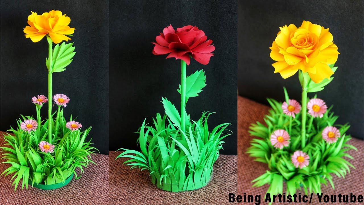 DIY Paper Rose Decorative Showpiece / DIY Crafts / Easy Home Decor Ideas