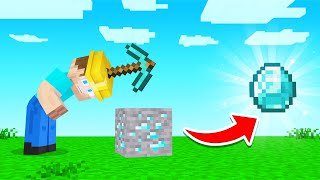 MINING With A PICKAXE HELMET In Minecraft!