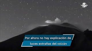 El volcán Popocatépetl continúa con actividad y en las últimas horas presentó al menos tres explosiones, una de ellas ha llamado la atención por la aparición de luces extrañas