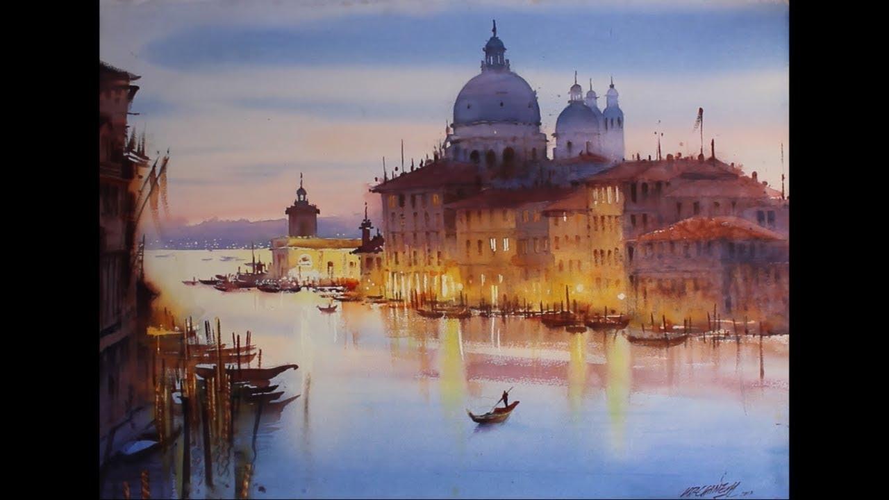 watercolour landscape painting   Beauty Of Venice   Ganesh ...