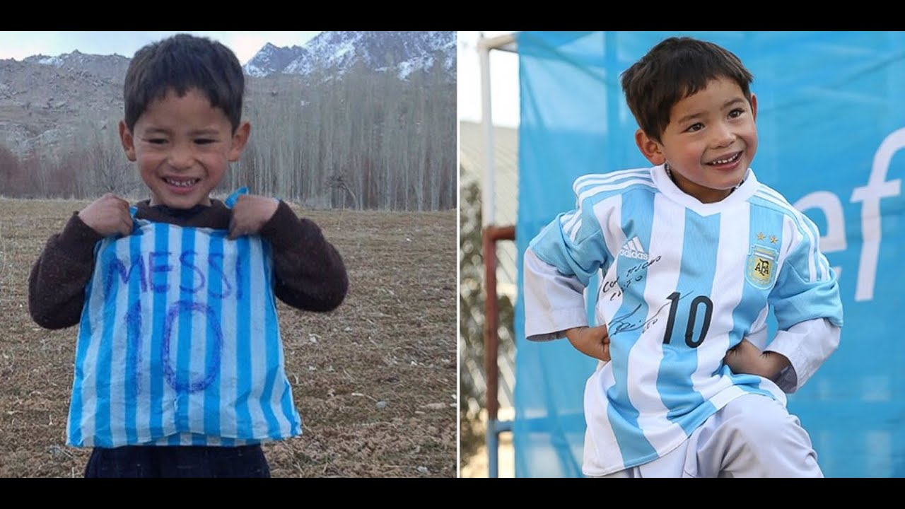 the best attitude 1beeb 72190 Messi Sends Afghan Boy Wearing 'Messi' Plastic Bag Signed Jerseys