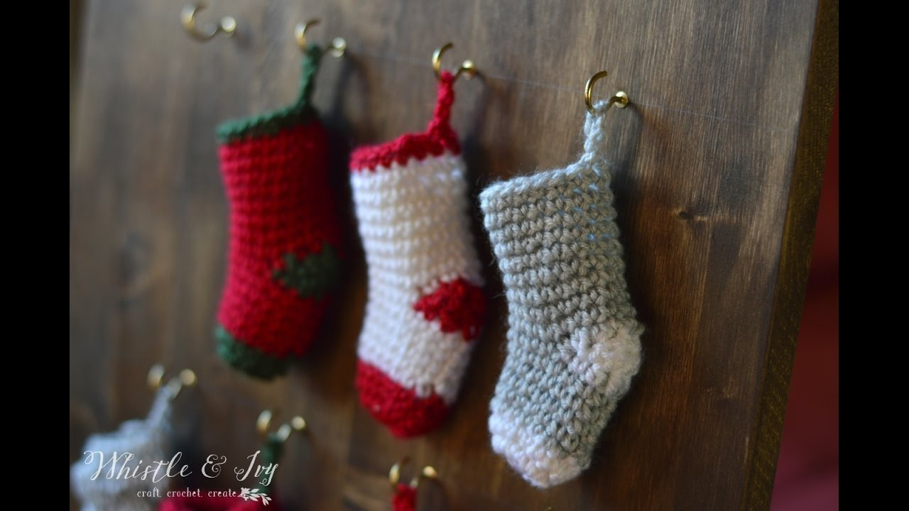 How to make a Crochet Mini Stocking - YouTube