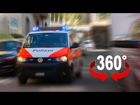 Fahrt mit Blaulicht und Sirene durch Zürich I 360-Grad-Video