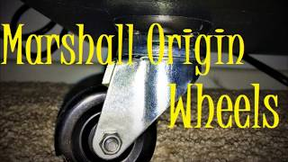 """Ready To Roll"". Installing wheels on a Marshall Origin ORI412A cabinet. Warning: Cat Video Content."