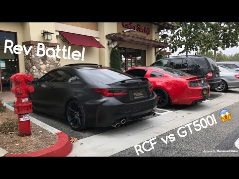 BRUTAL Rev Battle! Shelby GT500 vs Lexus RCF!