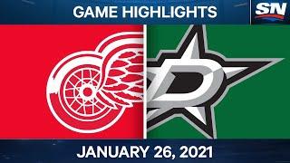 NHL Game Highlights | Red Wings Vs. Stars - Jan. 26, 2021