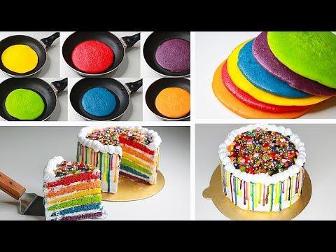 Rainbow Cake In Fry Pan | With Eggs / Eggless \u0026 Without Oven | Raibow Cake Without Oven | Yummy Cake