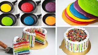 Rainbow Cake In Fry Pan  With Eggs  Eggless &amp Without Oven  Raibow Cake Without Oven  Yummy Cake