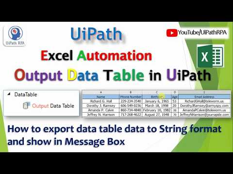 Output DataTable UiPath||Excel Automation|UiPath RPA Tutorial - YouTube