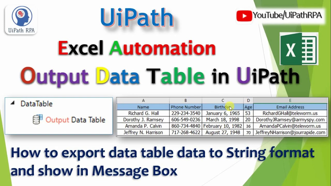 Output DataTable UiPath||Excel Automation|UiPath RPA