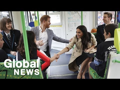 Prince Harry, Meghan Markle ride Melbourne's iconic tram with local students