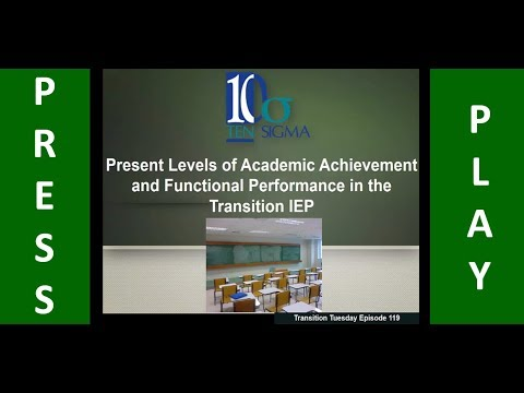 Present Levels of academic achievement and functional performanc PLAAFP Episode 119