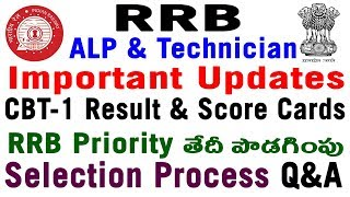 RRB Official Updates On ALP Date Extent rrb priority results date CBT 1 Scores Shortlist 2018 telugu