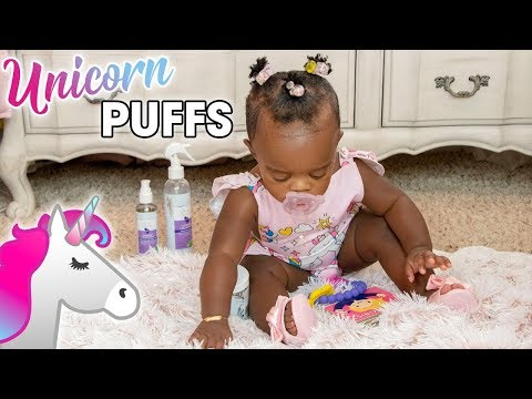 Kinky / Curly Baby Hairstyle Tutorial: Unicorn Puffs | The Alikay Naturals Baby Sapphire Collection