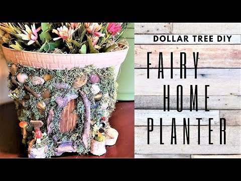 DOLLAR TREE DIY FAIRY HOME on a PLANTER 🍄 HOME DECOR DIY