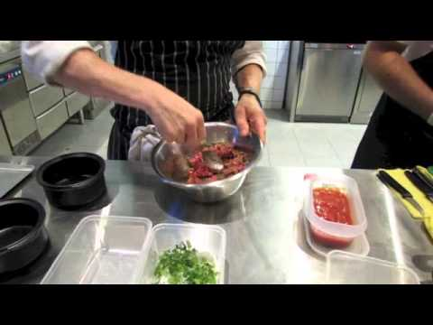 Tom Aikens Beef Tartare at Pots, Pans and Boards - YouTube