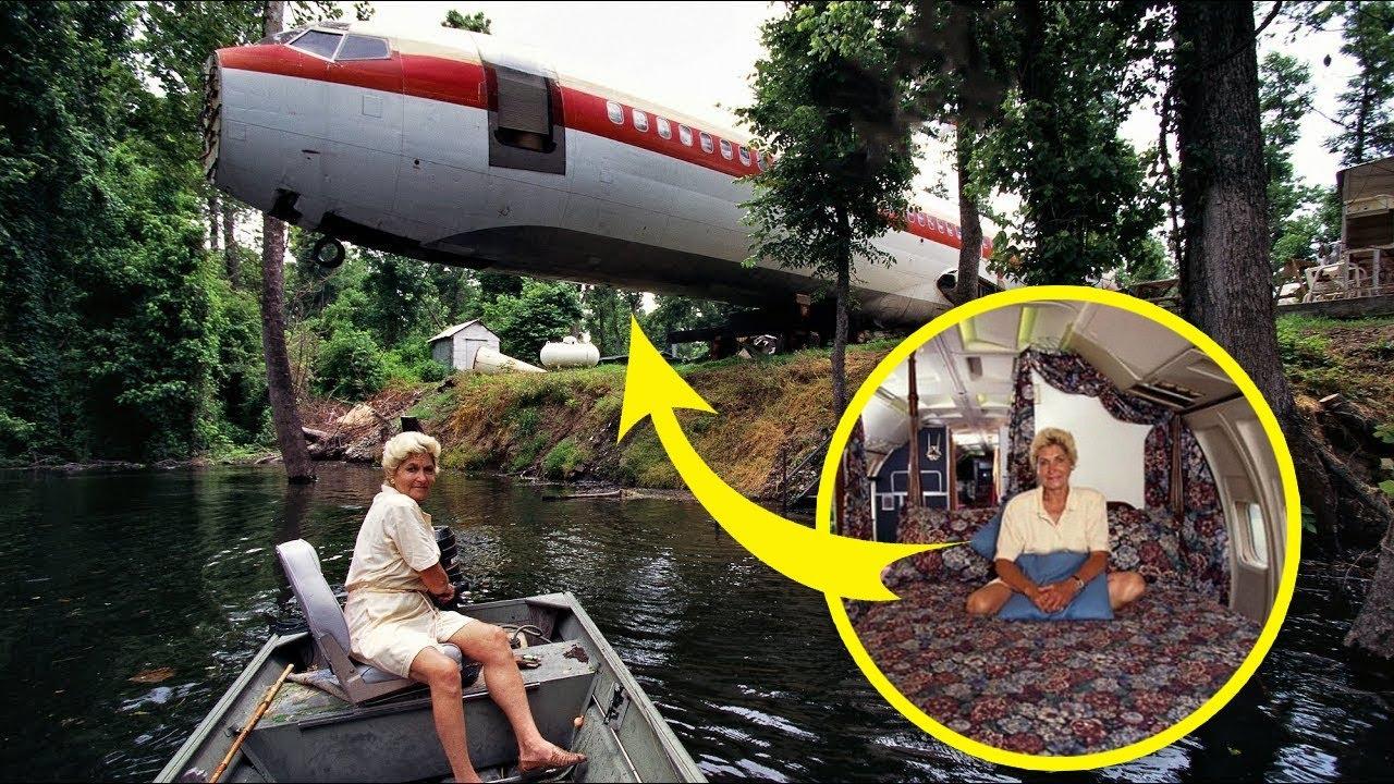 UIMITOR! O femeie a cumpărat un AVION AVARIAT cu 2000 de DOLARI și s-a Mutat Acolo, Casa In Avion