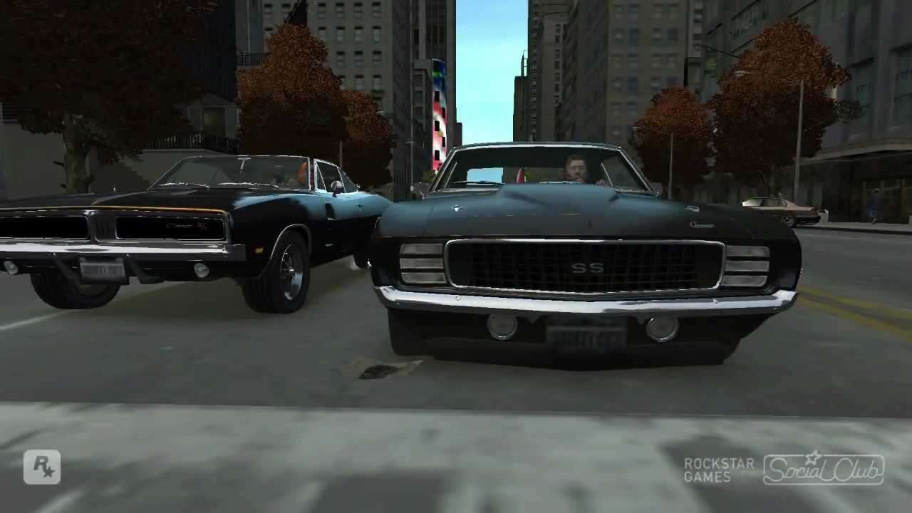 grand theft auto iv 1969 dodge charger r t vs 1969 chevrolet camaro ss 350 youtube. Black Bedroom Furniture Sets. Home Design Ideas