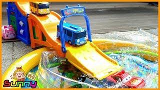 장난감TV 로보카폴리 맥퀸 합작 월드그랜드워터파크 물놀이 꼬마버스 타요 장난감 애니메이션 동영상