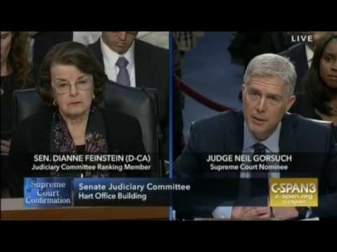 Dianne Feinstein tries to paint Neil Gorsuch as a corporate shill