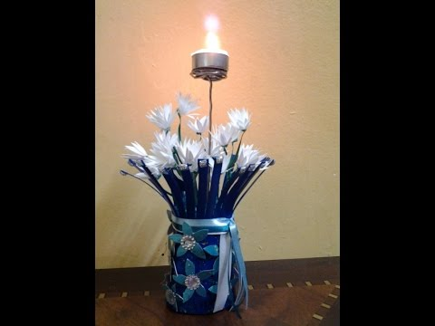 Best out of waste flower vase with white flowers and for Handmade flower vase with waste material