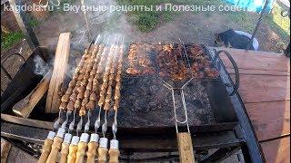 Готовим шашлык из куриных желудков и сердечек на мангале