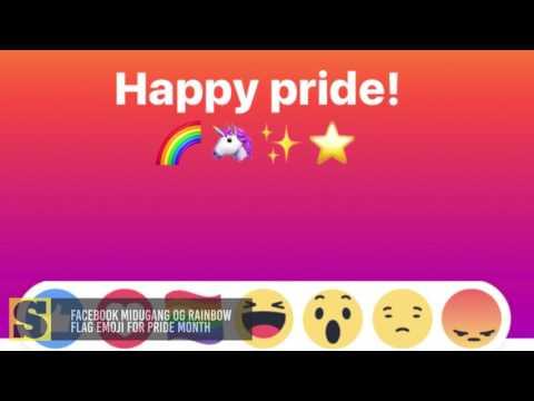 Facebook midugang og rainbow flag emoji for pride month