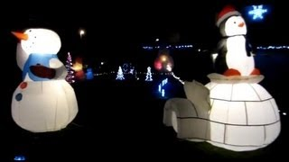 Cool Outdoor Christmas Holiday Decorations With Inflatables And Holographic Projector