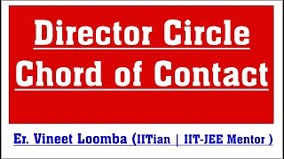 Director Circle, Chord of Contact Ellipse for IIT-JEE