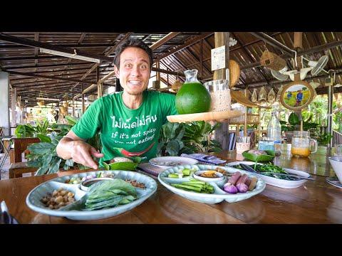 Organic Thai Food - RICE-GRASS + Kale Wraps!   Sukhothai, Thailand!