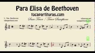 Para Elisa de Beethoven Partitura de Saxo Tenor Fácil Principiantes