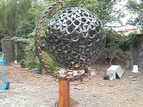 spinning giant desk globe handmade from scrap