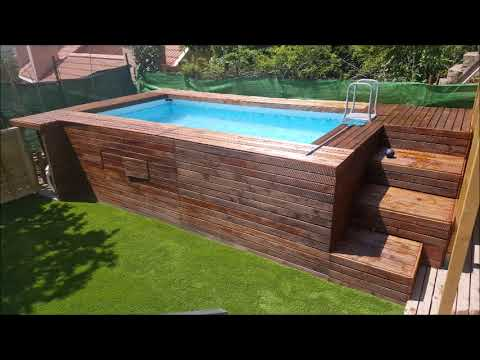 Piscina panelada de madera youtube for Jardines con piscinas desmontables