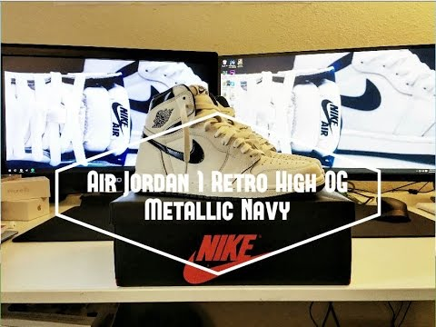 2016 Nike Air Jordan 1 Retro High OG Metallic Navy Review