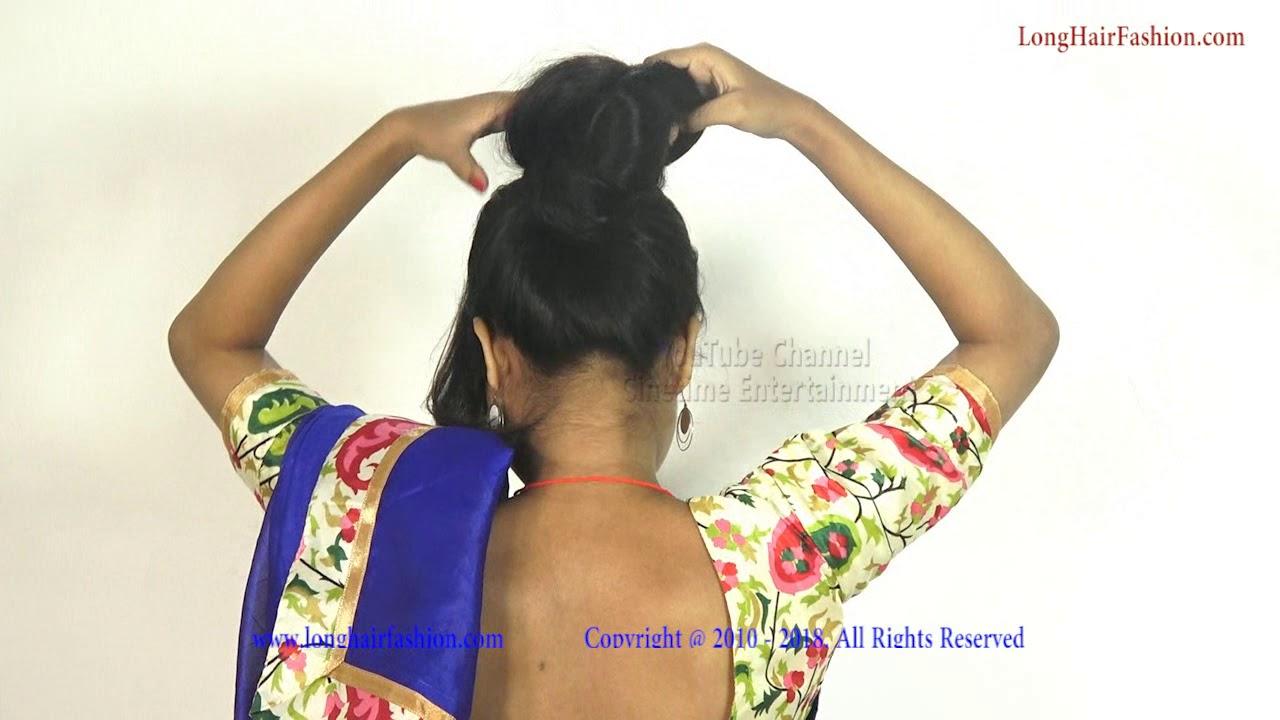 traditional indian long hair bun & sensual bun drops with knee length hair