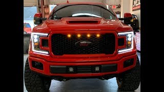 2018 Ford F-150 with the new Morimoto XB headlights, diff cover and carbon fiber raptor insert