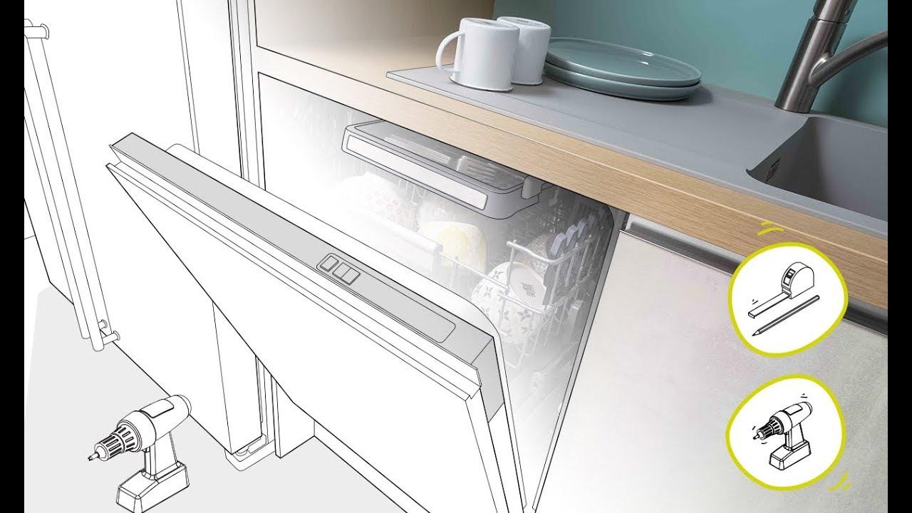 Cuisine quip e poser un lave vaisselle en vid o youtube for Pose d un evier encastrable