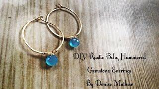 How to Make DIY Boho Gemstone Hoop Earrings By Denise Mathew