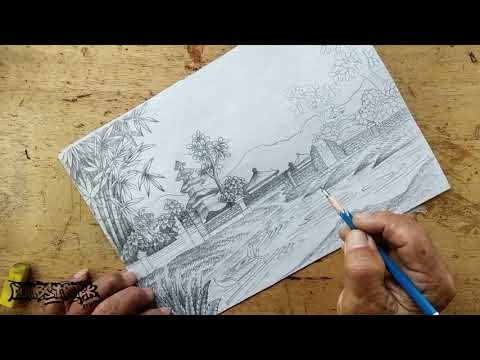 Drawing of Balinese Hindu temple by the lake
