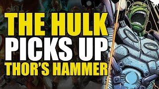 The Hulk Picks Up Thor's Hammer! (Indestructible Hulk: Gods & Monsters)