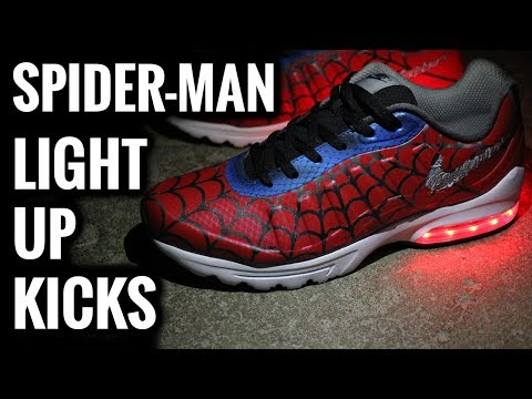 c4cc1b1e25b Spider-Man Light Up Shoes For Adults   Custom Nikes - YouTube