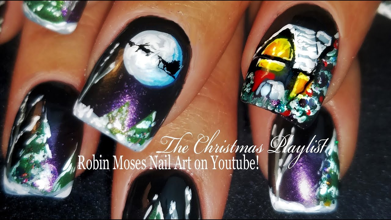 Night Before Christmas Nails 2017 | Hand Painted Santa and Reindeer ...