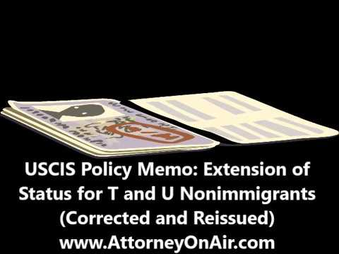 USCIS Policy Memo: Extension of Status for T and U Nonimmigrants